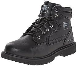 Fila Mens Landing Steel-m Walking Shoe, Black/Black/Metallic Silver, 9. 5 M US