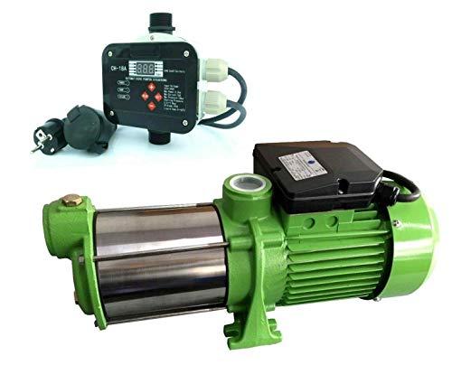 Gartenpumpe Kreiselpumpe INOX HMC90 + Steuerung CH-18A Trockenlaufschutz - Leistung: 750W - Spannung: 230 V / 50 Hz 5400 L/h - 90 l/min. 4 bar. Laufräder aus Edelstahl.