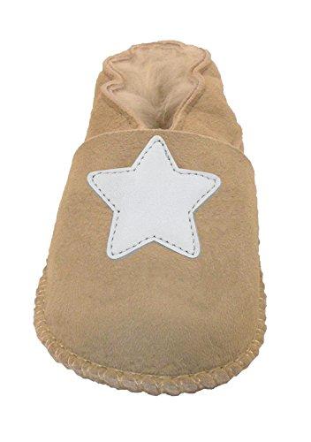 Plateau Tibet - ECHT Lammfell Baby Kinder Schuhe Babyschuhe - Stern weiß, Beige (Sand), Gr. 24-25