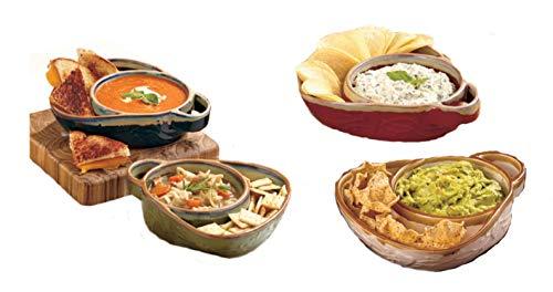 Set aus 2 Suppen- und Beilagentassen aus Steingut, je 2 Schalen in Blau/Grün oder Cremefarben/Rot blau/grün Chip Dip Set