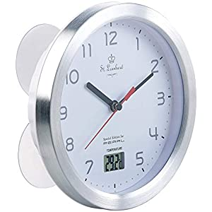 St. Leonhard Baduhr: Badezimmer-Wanduhr mit LCD-Thermometer und Aluminium-Rahmen, IPX4 (Uhr fürs Bad)