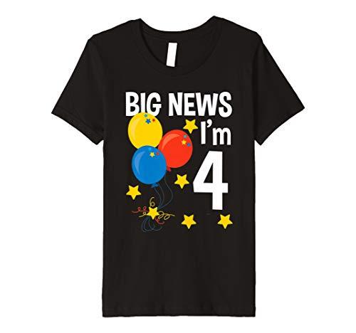 Kinder Kids Big News Ich bin 4Jahre alt Geburtstag Party T-Shirt Kleinkind