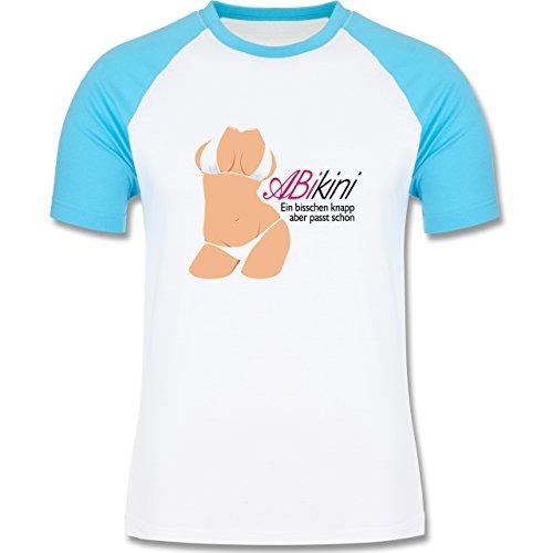 Abi & Abschluss - ABIkini - ein bisschen knapp - zweifarbiges Baseballshirt für Männer Weiß/Türkis