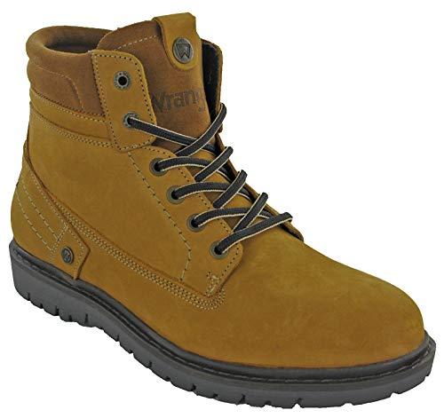 Wrangler Botas Tobilleras de Piel para Hombre, Estilo de Combate, Zapatos cómodos, Color Amarillo...
