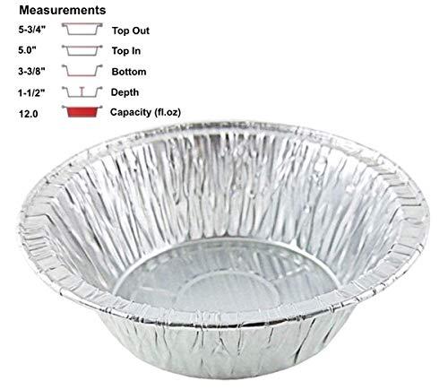 PACTOGO 53/10,2cm Aluminium Folie Fleisch Topf Pie Pfanne, Einweg 12oz Kochen Backform, Schwere Pflicht Made in USA Pans Only Aluminium Pie Pan