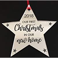 Our First Christmas In Our New Home - Xmas Chrstmas Tree Decoration Bauble Engraved Gift 1st Christmas Christma in new home Gift