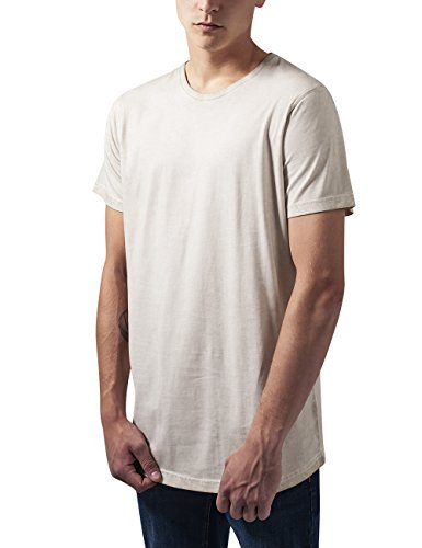Urban Classics Herren T-Shirt Shaped Long Cold Dye Tee, Elfenbein (Sand 208), X-Large (Langes Jersey Extra T-shirt)