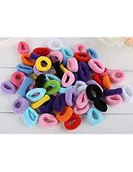 Lot de 100 élastiques colorés Cuhair™pour cheveux - Pour fillettes - 3 cm