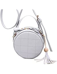 Mei&ge Women's PU Leather Round Sling Bag / Purse With Adjustable Strap, (M-1231 - Grey)