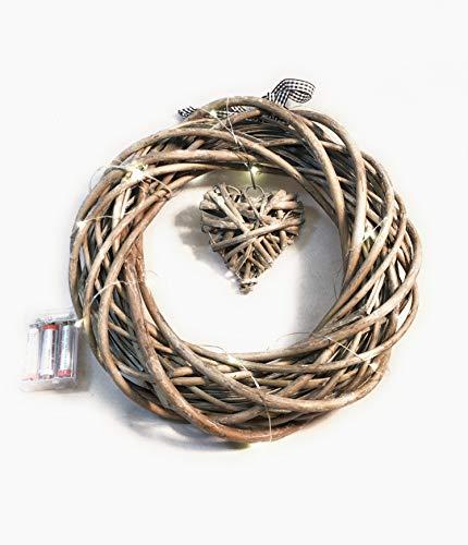 Weiden-Kranz mit hängenden Herz, Vintage-Look Beleuchtet 20LED Lampen mit 3AA-Batterien Durchmesser: 30 - 35 cm - Beleuchtete Weiden