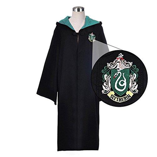 tel Slytherin Robe Harry Potter Kostüm schwarze lange Umhang mit Kapuze (XXL, grün) (Slytherin Roben)