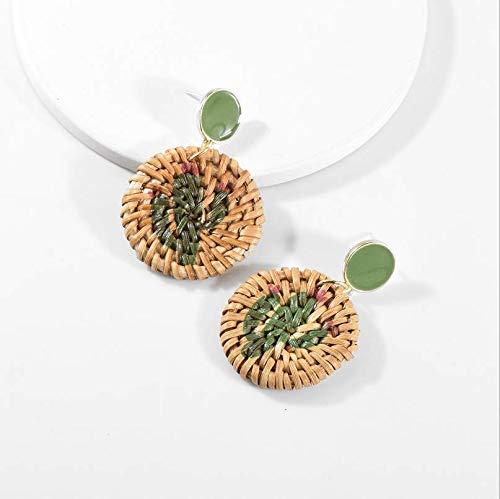 Yida Explosion Rattan Print Kreis Ohrringe Legierung Tropf Trends Wild Fashion Studs Simulation Cactus - Cactus Box Katzen