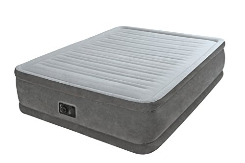 Intex Comfort Plush Elevated Dura Beam Airbed Materasso Gonfiabile Tecnologia Fiber Tech Matrimoniale PVC Grigio 152 x 203 x 46 cm
