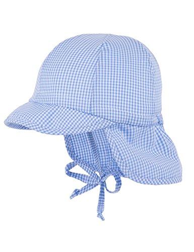 maximo Baby-Jungen Schildmütze mit Nackenschutz, Bindeband Mütze, Blau (Helio-weiß-Karo klein 5), 45