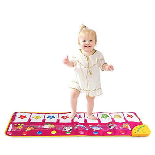 SANLINKEE Musical Teppich Kinder Musikmatte Musikteppich Touch Play Tastatur Musik Piano Matte Klavier Matte für Baby, Kinder Klavier Matte
