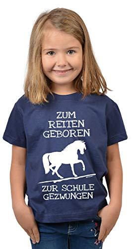 Reiter - Schule Sprüche Kinder-Shirt - Pferde Motiv Mädchen-Shirt : Zum Reiten geboren zur Schule gezwungen - Kinder Pferde Tshirt - Reiterinnen Shirt Gr: L = 146-152
