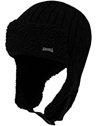 Lonsdale Herren Spar 2 Trapper Hut Winter Warm Muetze Gefuettert Strick Optik