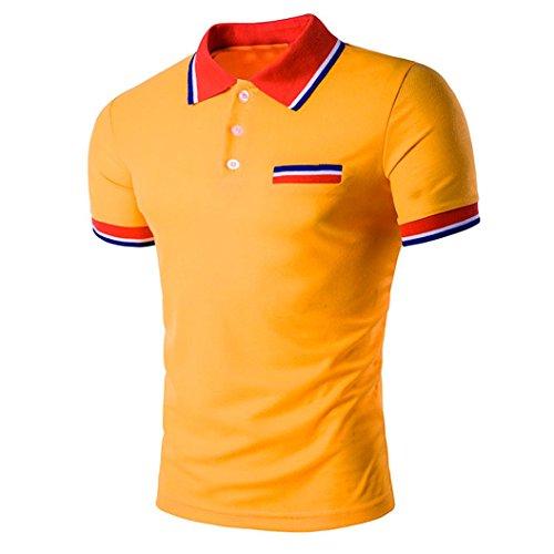 IMJONO.Mens Buttons Design Halb Cardigans Kurzarm Slim Fit Casual T-Shirt(Orange,Large)