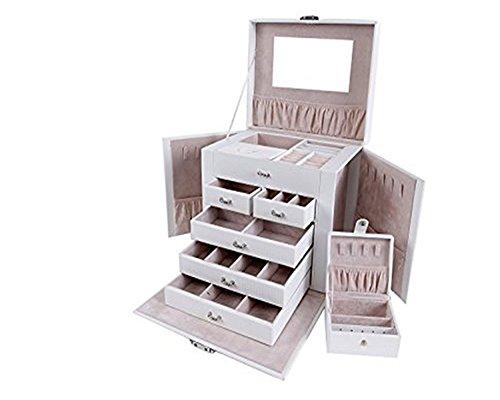 Asvert-5-Niveles-Caja-Joyero-Cuero-con-Espejo-Organizador-para-Bisuteras-Estuche-para-Joyas-Caja-Alcenamiento-Joyera-265x198x23cm-BlancoNegro