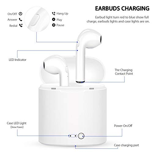 DONGXINCHENG Verdadero auricular inalámbrico Bluetooth 5.0 Auriculares estéreo TWS Micrófono incorporado con llamadas estéreo,  emparejamiento automático en un solo paso,  10 horas de reproducción