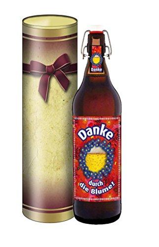 Dank sagen durch die Blume, Bier 1 Liter Flasche mit Bügelverschluss, mit Geschenkdose im Schleifendesign