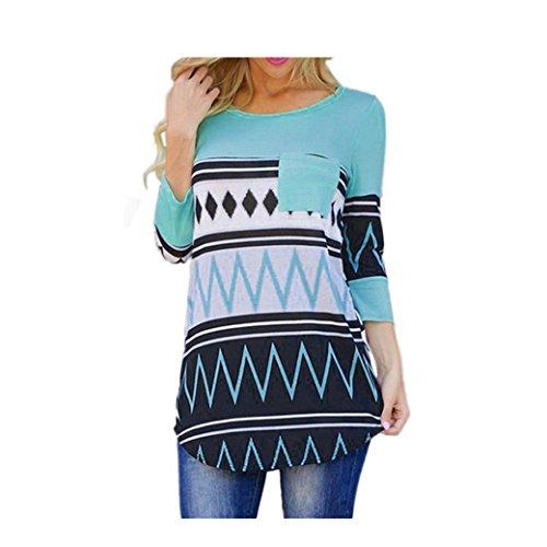 Bekleidung Longra Damen Mode Casual Geometrie Baumwoll Tops T-Shirt lose Bluse