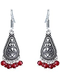 Waama Jewels Ethnic Red Silver Plated Dangle & Drop Earring For Women