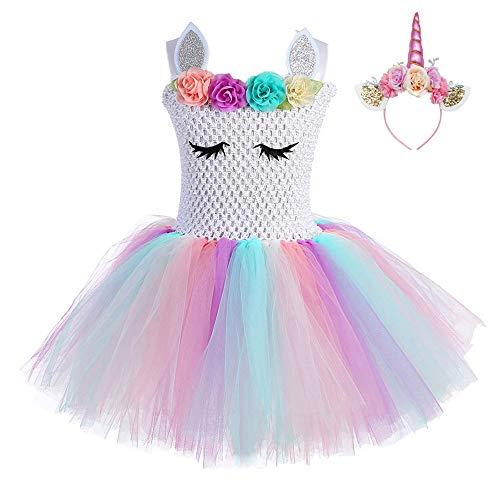 FONLAM Vestido de Bautizo Fiesta Niña Disfraz de Unicornio Princesa Tutú Vestido...