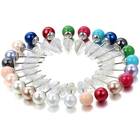 Flongo 12 pares de Pendientes de perlas abalorios bolitas de colores zarcillos pequeños de acero inoxidable, set de 12 colores oferta especial