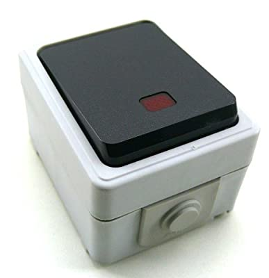 Taster mit LED Feuchtraum / Außen grau/grau 250V / 10A /mit Schraubanschlüssen, auch für Außeninstallation einsetzbar, da diese Serie Spritzwasser geschützt ist, Schutzsart IP44