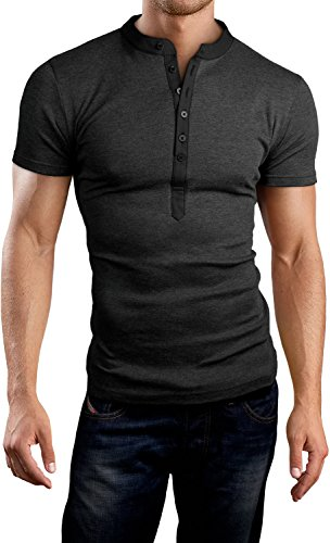 Grin&Bear Coupe Slim a col Rond boutonné, Manches Courtes, Anthracite, M, BH121