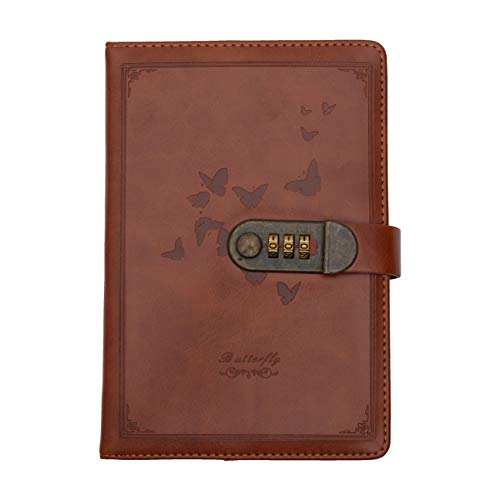 Store2508 22x15 cm 230 Pages Novelty Diary Notebook with Number Combination Lock and PU Leather Cover (Brown)