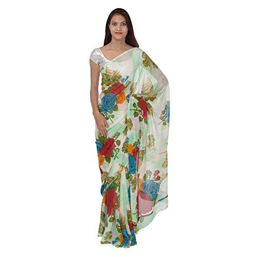 Saundarya Sarees Women Chiffon Printed White and Blue Saree
