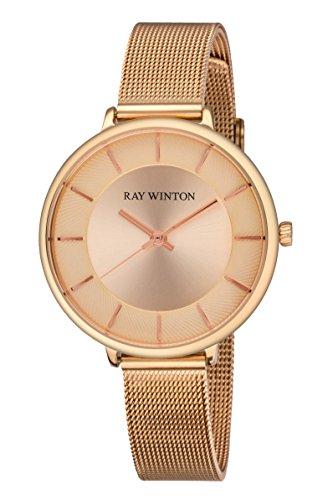 Ray Winton Damen Analog Champagner Zifferblatt Rose Gold Edelstahl Mesh Armband Band Armbanduhr (Champagner-mesh)