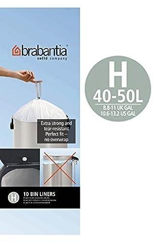 Brabantia 6 Rolls x 10 Type H 50 Litre Bin Liners (60 bags in total)