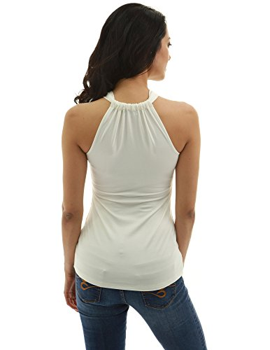 PattyBoutik Damen Halfter Twist Keyhole Empire-Taille Bluse Ivory