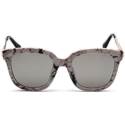 YKQJING Occhiali da sole per uomini e donne la stessa marea NPC scatola retro signora in occhiali da sole neri - Neri Punti Perfetti