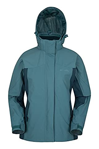 Mountain Warehouse Storm 3 in 1 Women's Waterproof Jacket - Multiple Pockets, Highly Breathable with Waterproof Fabric & Taped Seams, Detachable Fleece Teal 10