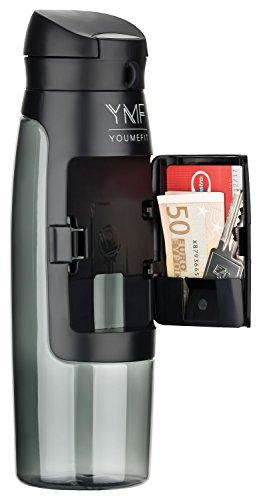 YOUMEFIT Sport Trinkflasche 750 ml mit Fach für Geld I Sportflasche schwarz