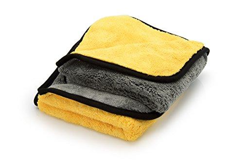 ginoclean 2x Auto-Poliertuch, weiches Microfasertuch, schonende Autopflege, Mikrofaser-Trockentuch, 40x40cm, yellow & grey | yellow & grey