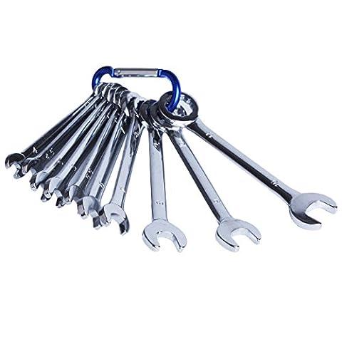 Andux Zone Mini-clés plates, Trousse/jeu de 10 clés mixtes fourche en Chrome Vanadium 4-11 mm MNBS-01