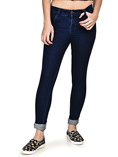 Buttun Dobby Smart Slim Fit Dark Blue Denim Jeans For Women Size