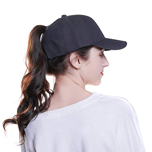WELROG Dame Baseball Kappe Hip-Hop-Hut Verstellbar Baumwolle Pferdeschwanz Cap (Schwarz #2)