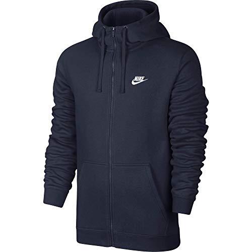 Nike M NSW FZ FLC Club Sudadera con Capucha, Hombre, Azul (Obsidian/White), L