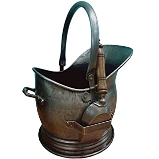 Antique Pewter Coal Basket - Comes With Scoop - Beautiful Antique Style - Finely Crafted And Detailed Design - Made Of Tin