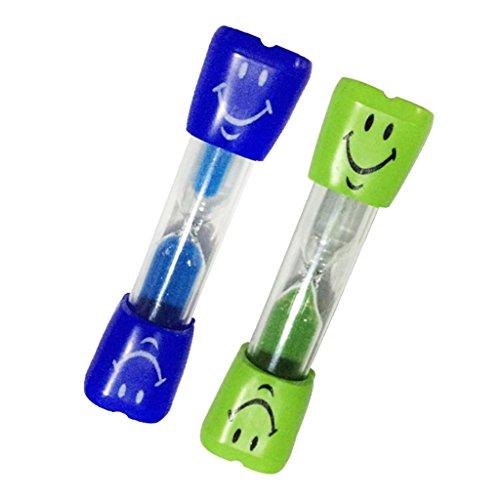 LOVIVER 2pcs 3 Minuten Lachende Zähne Putzen Kinder Sanduhr Zahnputzuhr Eieruhr Teeuhr - Blau + Grün