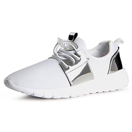 Topschuhe24, Sneaker Donna Bianco Argento