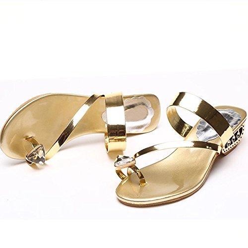 Frau Sandalen,Böhmen Flip Flop Schuhe Strass Wulstige Flache Thong Sandalen,Gold, Silber, Schwarz 35