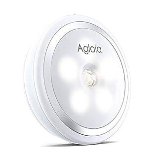 Aglaia LED Nachtlicht mit Bewegungssensor 5 LED Wiederaufladbare Wandleuchte mit 2 Licht Modus Natur Weiß für Kinderzimmer,Schlafzimmer,Schrank oder Schublade,es kann irgendwo im Haus Aufkleben.