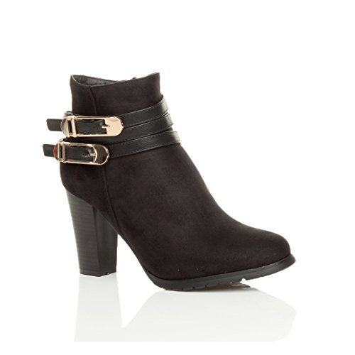 Womens ladies high mid block heel strappy buckles zip ankle boots booties